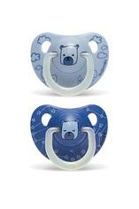 SUAVINEX   Šidítko DEN/NOC anatomické latex 6-18 m 2 ks - modrý medvěd